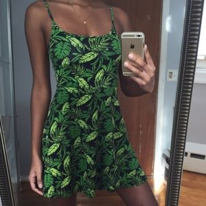 Green Jungle Leave Skater Dress